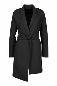 Womens O Ring Belted Duster Coat - black - 14, Black