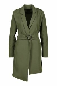 Womens O Ring Belted Duster Coat - green - 8, Green