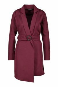 Womens O Ring Belted Duster Coat - red - 14, Red