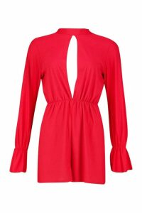 Womens Split Front Flared Sleeve High Neck Playsuit - 16, Red