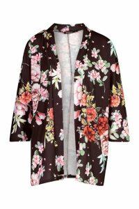 Womens Floral Printed Kimono - black - M, Black