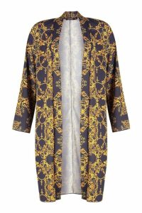 Womens Vintage Floral Belted Midi Kimono - navy - S, Navy