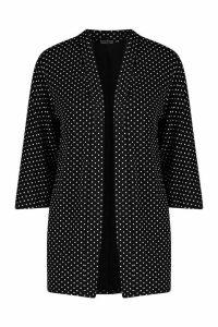 Womens Polka Dot Kimono - black - L, Black