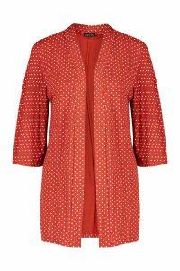 Womens Polka Dot Kimono - orange - M, Orange