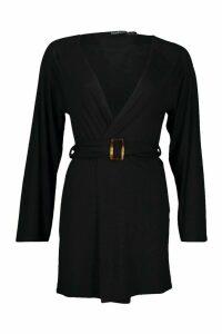 Womens Mock Horn Wide Sleeve Kimono - black - M, Black