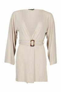 Womens Mock Horn Wide Sleeve Kimono - beige - L, Beige