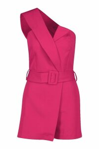 Womens Self Belted Strapless Tailored Playsuit - pink - 14, Pink