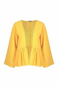 Womens Frill Hem Kimono - yellow - L, Yellow