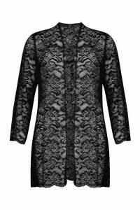 Womens Lace Wide Sleeve Kimono - black - S, Black