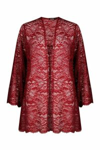 Womens Lace Wide Sleeve Kimono - red - M, Red
