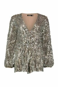 Womens Blouson Sleeve Sequin Playsuit - purple - 14, Purple