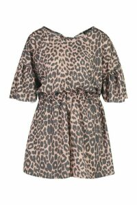 Womens Leopard Open Back Playsuit - multi - 16, Multi