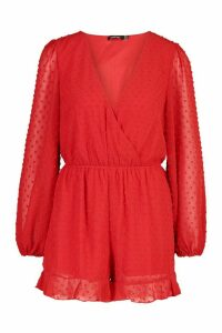 Womens Wrap Dobby Mesh Blouson Sleeve Playsuit - red - 16, Red