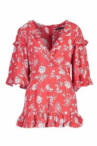 Womens Ruffle Floral Flared Sleeve Playsuit - 16, Red