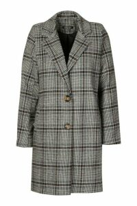 Womens Check Oversized Boyfriend Coat - blue - 14, Blue