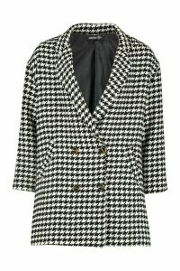 Womens Dogtooth Double Breasted Wool Look Coat - black - 14, Black