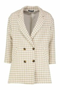 Womens Dogtooth Double Breasted Wool Look Coat - beige - 14, Beige