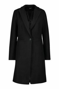 Womens Tailored Wool Look Coat - black - 8, Black
