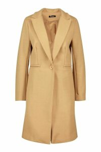 Womens Tailored Wool Look Coat - beige - 14, Beige