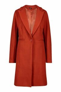Womens Tailored Wool Look Coat - orange - 14, Orange