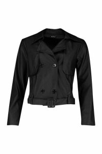 Womens Faux Leather Short Trench Coat - black - 12, Black