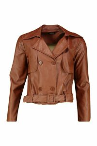 Womens Faux Leather Short Trench Coat - brown - 12, Brown