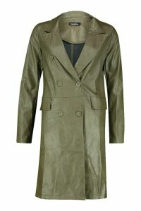 Womens Faux Leather Double Breasted Coat - green - 8, Green