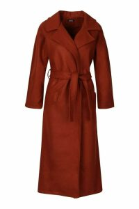 Womens Belted Wool Look dressing gown Coat - brown - 14, Brown