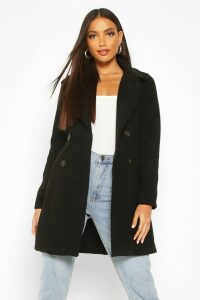 Womens Double Breasted Collared Wool Look Coat - black - 14, Black