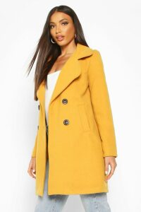 Womens Double Breasted Collared Wool Look Coat - yellow - 14, Yellow