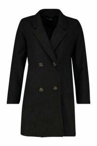 Womens Double Breasted Slim Fit Wool Look Coat - black - 12, Black