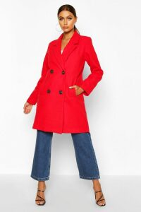 Womens Double Breasted Slim Fit Wool Look Coat - red - 10, Red