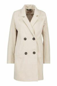 Womens Double Breasted Slim Fit Wool Look Coat - beige - 14, Beige