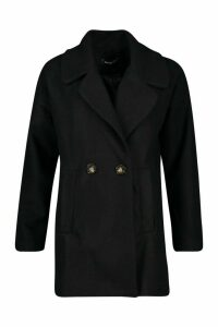 Womens Oversized Collared Wool Look Coat - black - 14, Black