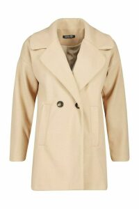 Womens Oversized Collared Wool Look Coat - beige - 14, Beige