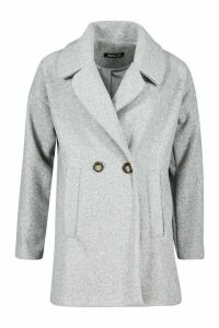 Womens Oversized Collared Wool Look Coat - grey - 12, Grey