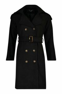 Womens Double Breasted Trench Wool Look Coat - black - 14, Black