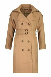 Womens Double Breasted Trench Wool Look Coat - beige - 12, Beige