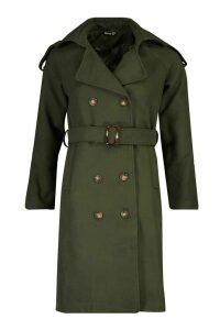 Womens Double Breasted Trench Wool Look Coat - green - 14, Green