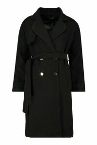 Womens Belted Military Double Breasted Trench Coat - black - 8, Black