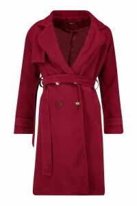Womens Belted Military Double Breasted Trench Coat - red - 8, Red