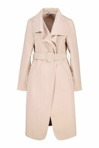 Womens Self Fabric Buckle Belted Wool Look Coat - pink - M, Pink