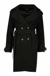 Womens Belted Double Breasted Wool Look Trench Coat - black - 12, Black