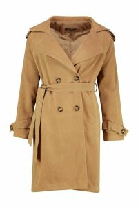 Womens Belted Double Breasted Wool Look Trench Coat - beige - 14, Beige