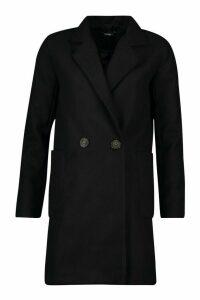 Womens Mock Horn Button Wool Look Coat - black - 12, Black