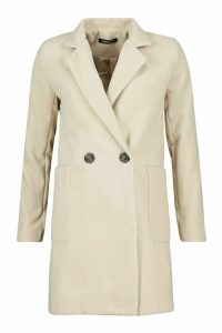 Womens Mock Horn Button Wool Look Coat - beige - 10, Beige