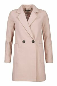 Womens Mock Horn Button Wool Look Coat - pink - 14, Pink