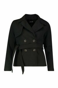 Womens Belted Wool Look Short Trench Coat - black - 10, Black