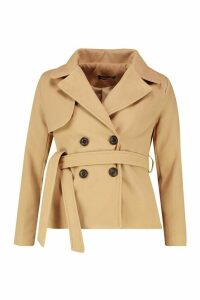 Womens Belted Wool Look Short Trench Coat - beige - 14, Beige
