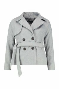 Womens Belted Wool Look Short Trench Coat - grey - 14, Grey